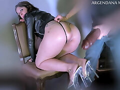 Extreme deep anal with oversized faux-cock