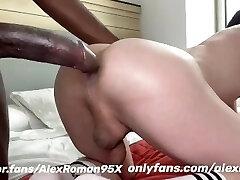 Big dark-hued dick in white ass