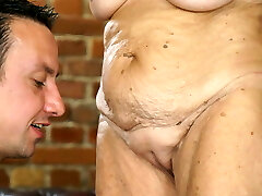 Very old chick and a young dick