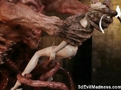 3D Terrifying Aliens Fuck Skimpy Girls!