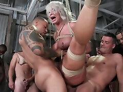 Busty Milf stripper tied and gangbanged