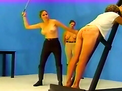 Flogged by two mistresses until he bleeds