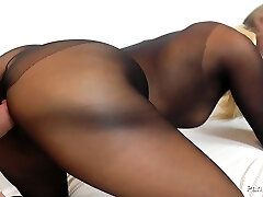 Horny blondie Barra Brass in pantyhose costume rides hard dick