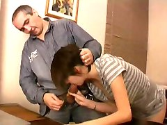 OLD MAN AND TEEN n13 brunette teen and an old man