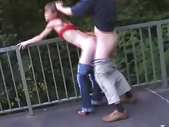 Girlfriend Gives a Blowjob Above the Highway