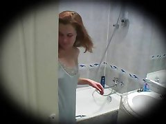 young redhead shower spycam