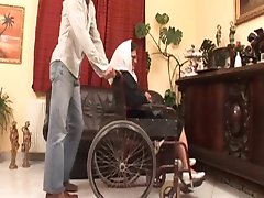 Wheelchair Granny Takes Young Cock