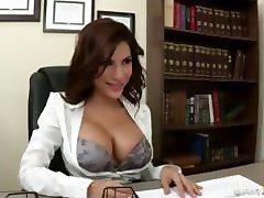 Brunette Latina boss chick fucks one of her employees in the office