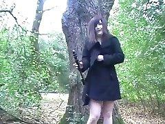 Amateur English Teen Exhibitionist dildos in a public park