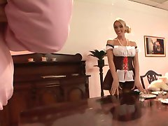 British blonde gets fucked dressed as a maid