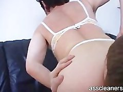 Oldie mistress wants young man to lick her ass hole