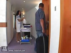 Hot hotel maid Laura Lion gives his cock some lip service in the room