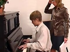 piano teacher dominates her college girl