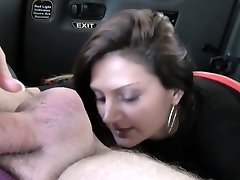 Bad brunette gives ass job in a cab