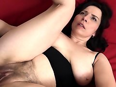 Mature with natural bumpers gets a creampie in her hairy honeypot!