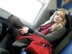 Voyeur snoops a charming girl on the train
