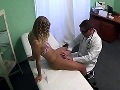Sexy light-haired patient gets fingered by her physician
