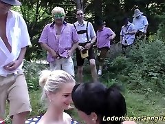 german lederhosen gang-fuck in nature