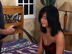 Hot black hair stunner gets a spanking in bedroom