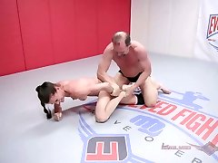 Sofie Marie naked wrestling turns rough for a rock-hard fucking