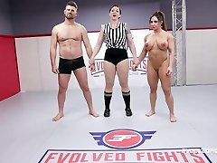 Brandi Mae rough grappling sex fight vs Jack Friday