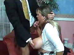 Busty schoolgirl thakes a big cock.