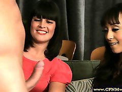 Hot femdoms dominate by sucking on their sub