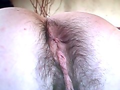 hairy leggs, ass, pitts, pussy takes a dildo pleases herself....