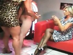 Perverted two milfs are playing with a slave