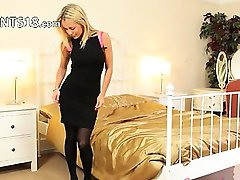 Black panties and high heels teasing