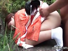 Japanese lady in kimono pissing after part2
