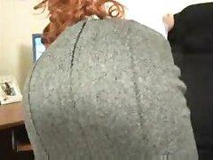 Natural Redhead Secretary doing striptease then masturbating