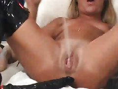Sexy Blonde Toying All Holes & Squirt