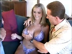 sexy blonde mom playing with two men