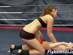 Orally pleasured lesbian loves wrestling