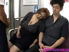 Big funbags asian fucked on train by two studs