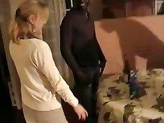 Blonde French wife gangbanged by three black men. Husband films