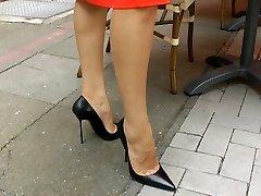 Ambling n teasiing in high heels