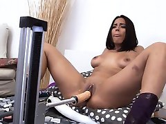 Moaning and screaming with a fuck machine