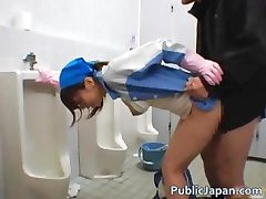 Asian maintenance lady cleans wrong part1