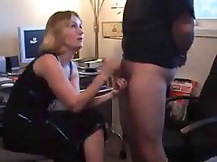 A ball tugging CFNM HJ by blonde wife