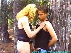 Filthy Tranny Seduces Shy boy in the woods.