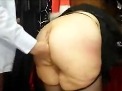 Obese french MILF with a big ass fucked in a lovemaking shop