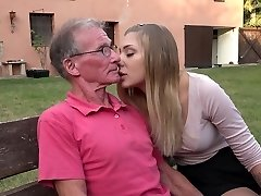 Big old cock teaching teenie blonde ass fucking pound positions