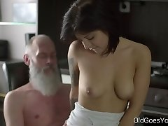Aged Goes Youthfull - Sexy brunette Gerra and her man