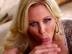 Julia Ann fellates vulnerable dick