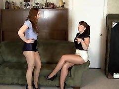 girl/girl shiny pantyhose bondage