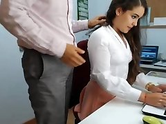 super hot brunette secretary playing in office 1