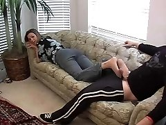 Great nylon footjob with blessed end