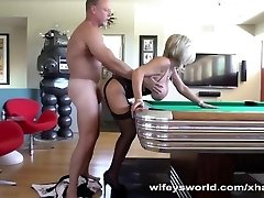Hubby Boinks Neighbor Bent Over Pool Table